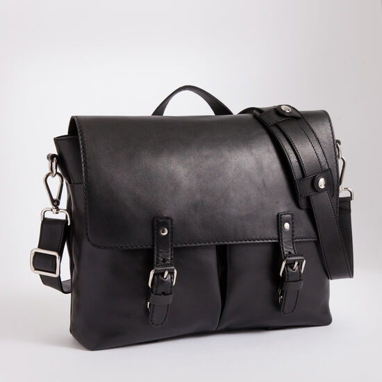 Roots-Leather Briefcases & Messengers-Directors Satchel Box-Black-A