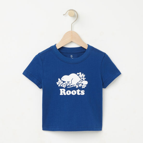 Roots-Kids T-shirts-Baby Cooper Beaver T-shirt-Anchor Lake Blue-A