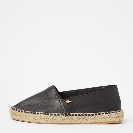 Roots-Shoes Women's Shoes-Womens Classic Espadrille Tribe-Jet Black-A
