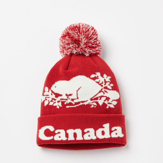 Roots-Men Hats-Cooper Canada Pom Pom Toque-Sage Red-A