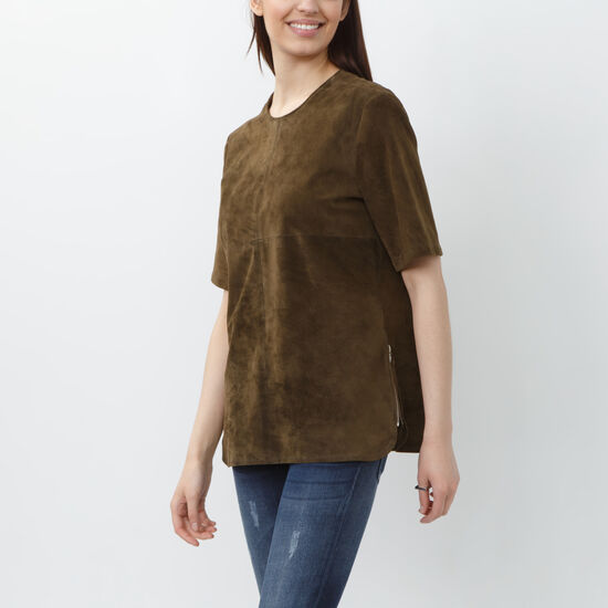 Roots-Women Shirts-Suede Pullover-Loden-A