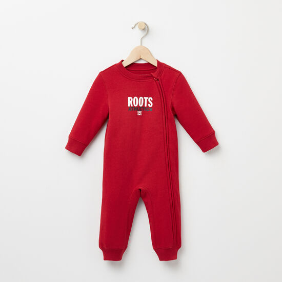 Roots-Kids New Arrivals-Baby Original Roots Re-issue Romper-Scooter Red-A