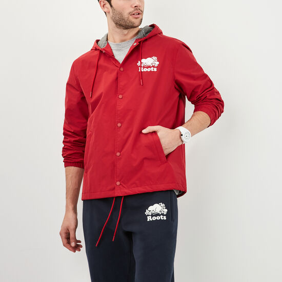 Roots-Men Jackets-Sideline Nylon Jacket-Scooter Red-A