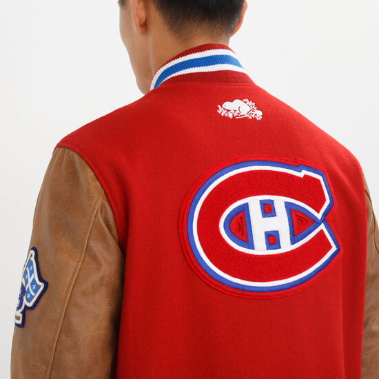 Roots-Leather Men's Leather Jackets-NHL Award Jacket Montreal-Red-A