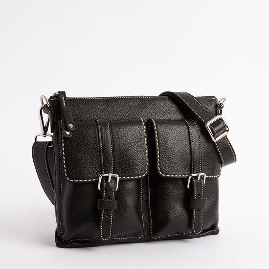 Roots-Leather Shoulder Bags-Editors Flat Prince-Black-A
