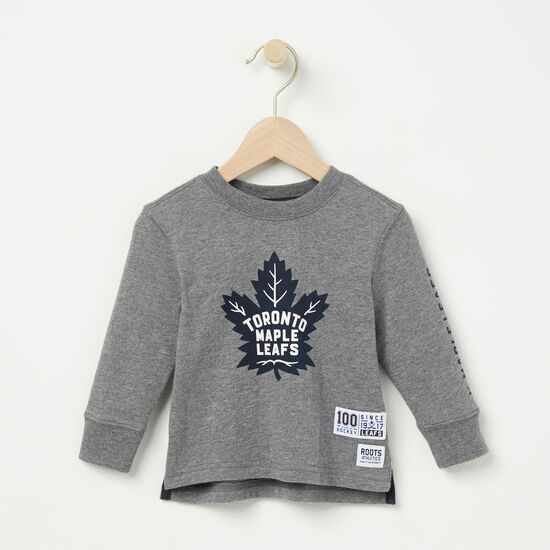 Roots-Kids T-shirts-Baby TML Left Wing T-shirt-Med Grey Mix-A