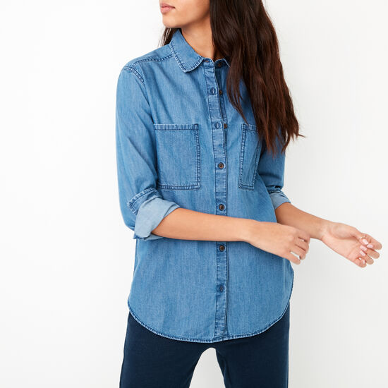 Roots-Women Shirts-Ali Denim Shirt-Indigo-A