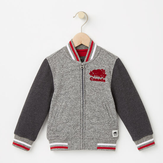 Roots-Kids Toddler Girls-Toddler Canada Varsity Jacket-Salt & Pepper-A