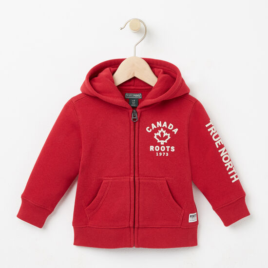 Roots-Kids Tops-Baby True North Full Zip Hoody-Scooter Red-A