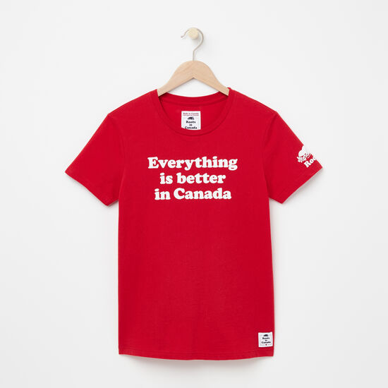 Roots-Men Women's-Womens Everything Is Better T-shirt-Sage Red-A
