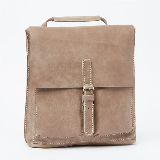 Roots-Leather Tribe Leather Collection-Small Raiders Pack Tribe-Fawn-A