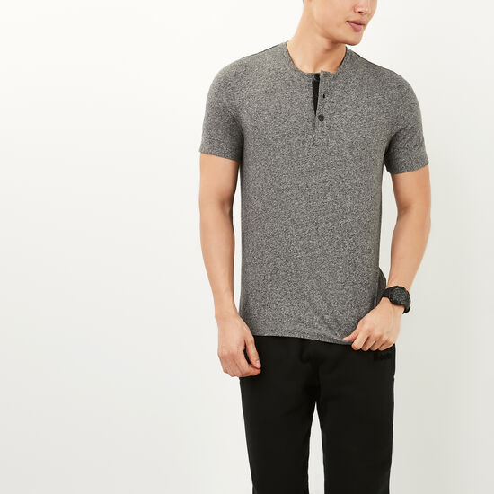 Roots-Men Tops-New Guelph Henley-Salt & Pepper-A