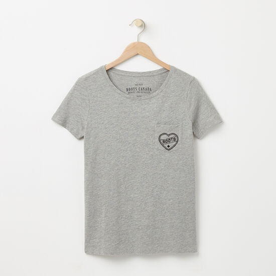 Roots-Women Graphic T-shirts-Roots Heart T-shirt-Grey Mix-A