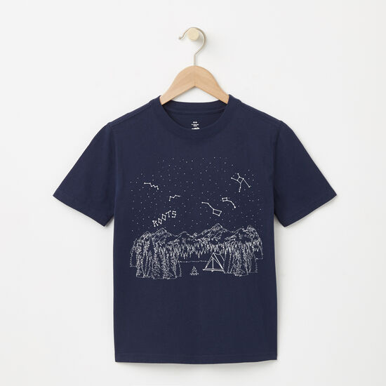 Roots-Kids T-shirts-Boys Glow In The Dark Camp T-shirt-Cascade Blue-A