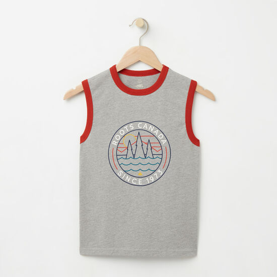 Roots-Kids Tops-Boys Greenwich Sleeveless Top-Grey Mix-A