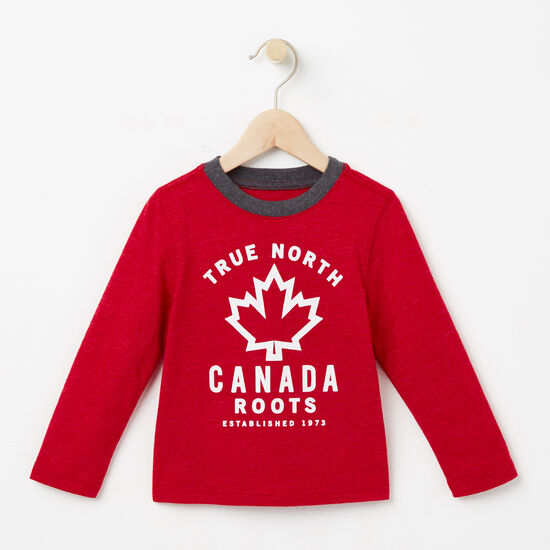 Roots-Kids New Arrivals-Toddler True North T-shirt-Scooter Red Mix-A