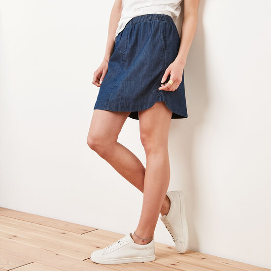 Roots-Women Bottoms-Lakelet Skirt-Chambray Blue-A