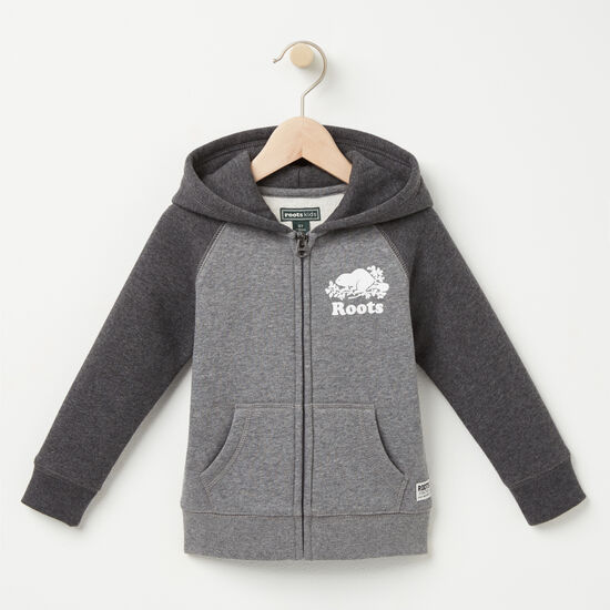 Roots-Kids New Arrivals-Toddler Original Contrast Full Zip Hoody-Med Grey Mix-A