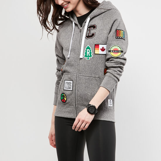 Roots-Women Women's-Womens Patches Original Full Zip Hoody-Salt & Pepper-A