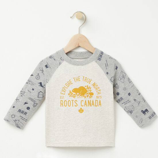 Roots-Kids T-shirts-Baby Jason Baseball Top-Grey Mix-A