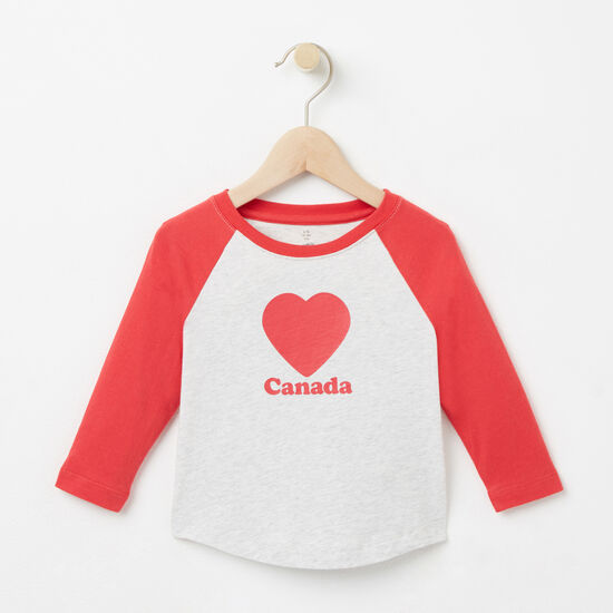 Roots-Kids Baby Girl-Baby Love Roots Canada Raglan T-shirt-Snowy Ice Mix-A