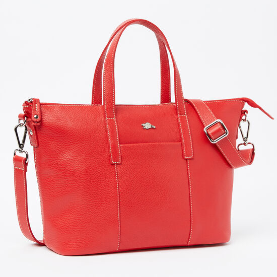 Roots-Leather Totes-Zoe Bag Prince-Canada 150 Red-A