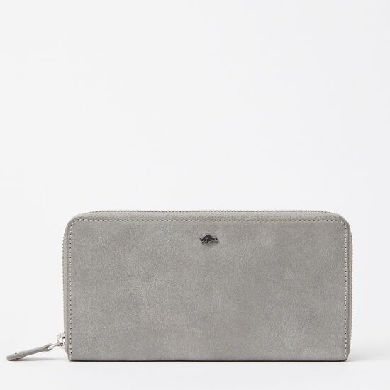 Roots-Leather Wallets-Zip Around Wallet Tribe-Quartz-A