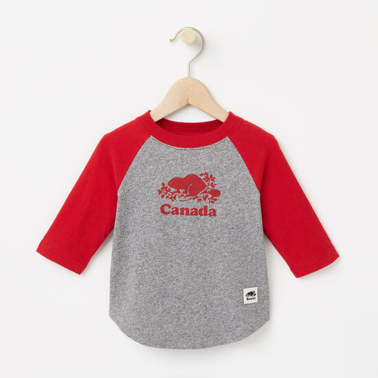 Roots-Kids Baby Boy-Baby Canada Baseball T-shirt-Salt & Pepper-A