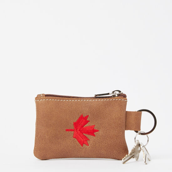 Roots-Women Leather-Maple Leaf Top Zip Pouch Tribe-Africa-A