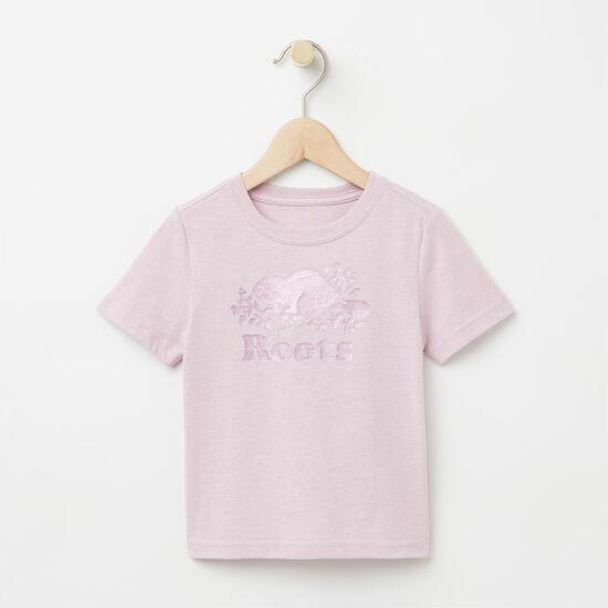 Roots-Kids T-shirts-Toddler Foil Cooper Beaver T-shirt-Mauve Shadows Mix-A