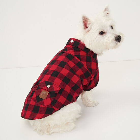 Roots-Men Roots Home-Roots X Canada Pooch Flannel Shirt - Size 14-Lodge Red-A