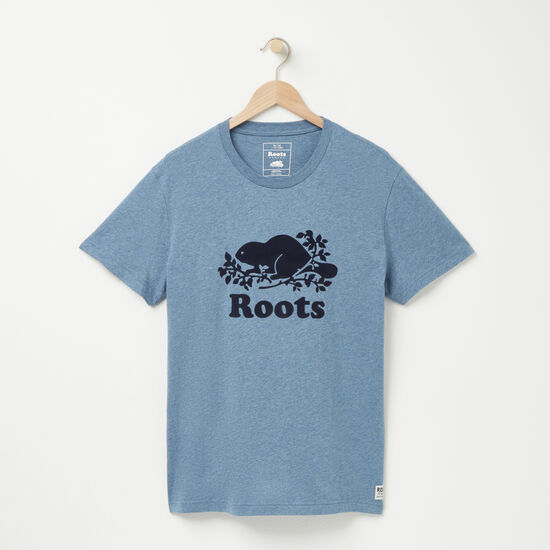Roots-Hommes Nouveautés-T-shirt Cooper Beaver-Mlng Bleu Copenhague-A