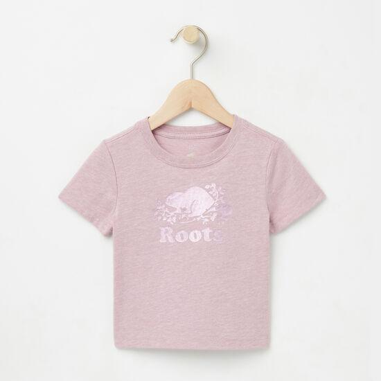 Roots-Kids T-shirts-Baby Foil Cooper Beaver T-shirt-Mauve Shadows Mix-A