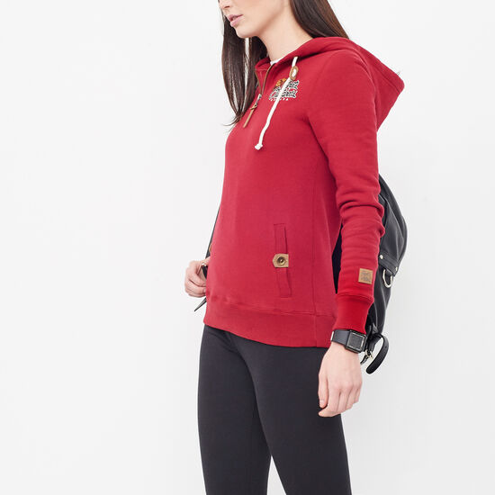 Roots-Women Online Exclusive-Heritage Outdoors Pullover Hoody-Red Dahlia-A