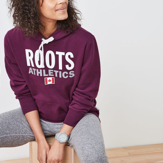 Roots-Women Sweatshirts & Hoodies-Roots Re-issue Boyfriend Hoody-Pickled Beet-A