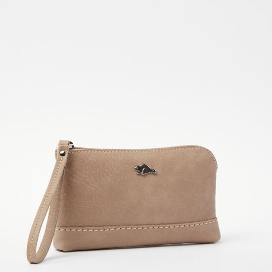 Roots-Leather Colour Of The Month: Sand Tribe-Funky Zip Pouch Tribe-Sand-A