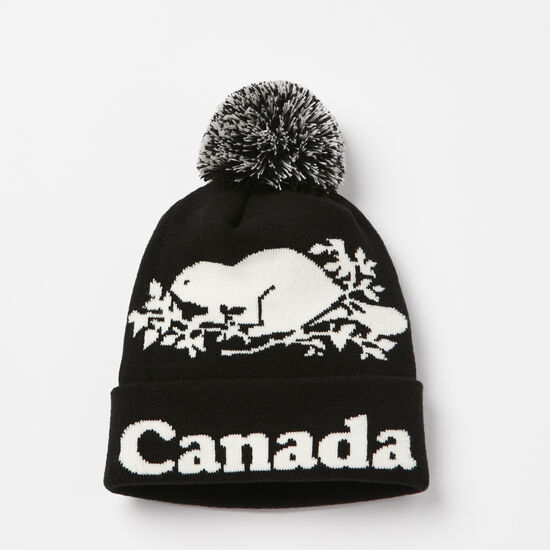 Roots-Women Canada Collection By Roots™-Cooper Canada Pom Pom Toque-Black-A