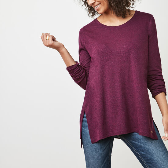 Roots-Women Long Sleeve T-shirts-Nanoose Top-Pickled Beet Mix-A