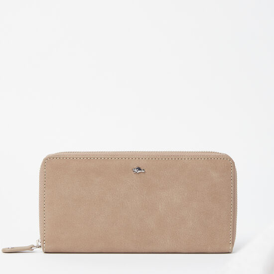 Roots-Women Wallets-Zip Around Wallet Tribe-Sand-A