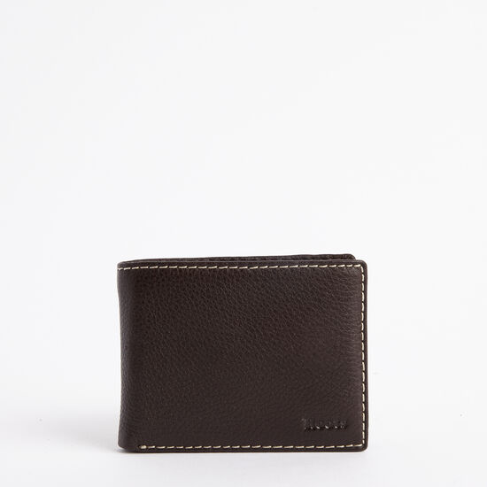 Roots-Leather Men's Wallets-Mens Slimfold Side Flap Prince-Chocolate-A