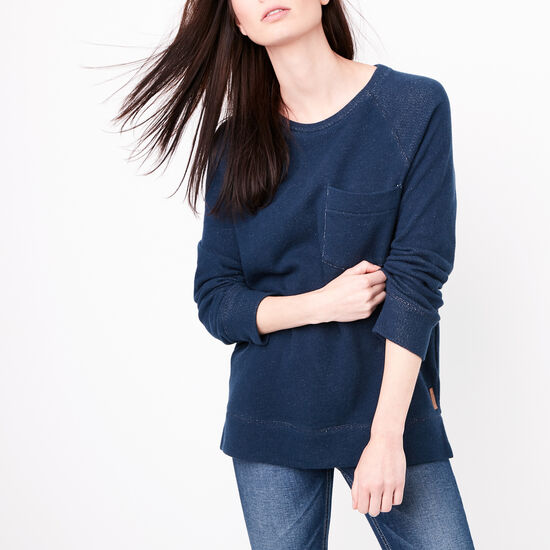 Roots-Women Sweats-True North Top-Cascade Blue-A
