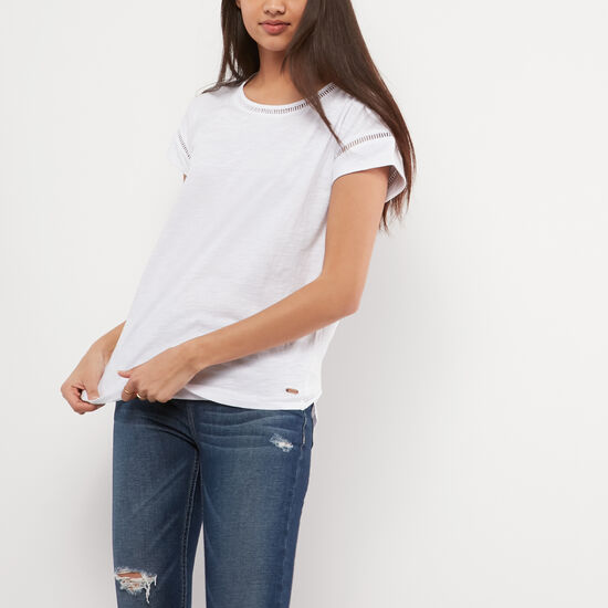 Roots-Women Short Sleeve T-shirts-Laina Top-White-A