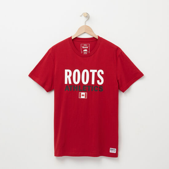 Roots-Men New Arrivals-Mens Roots Re-issue T-shirt-Scooter Red-A
