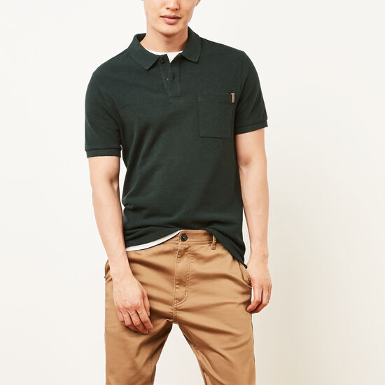 Roots-Men Tops-Heritage Peppered Polo-Mountain View Pepper-A