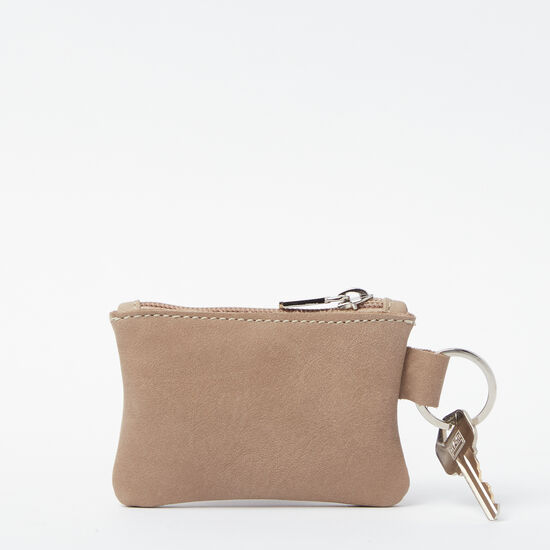 Roots-Women Leather Pouches-Top Zip Key Pouch Tribe-Sand-A