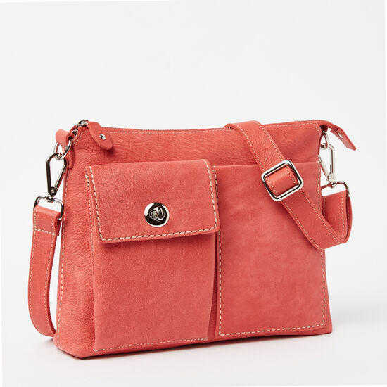 Roots-Leather Handbags-The Villager Tribe-Coral-A