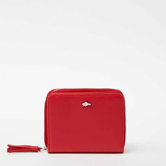 Roots-Women Wallets-Small Tassel Wallet Bolzano-Scarlet-A