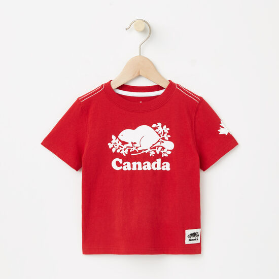 Roots-Kids Toddler Girls-Toddler Cooper Canada T-shirt-Sage Red-A