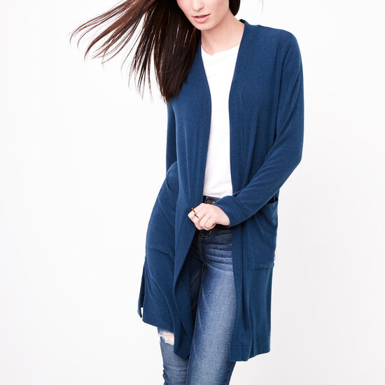 Roots-Women Tops-Hillside Cardigan-Cascade Blue Mix-A