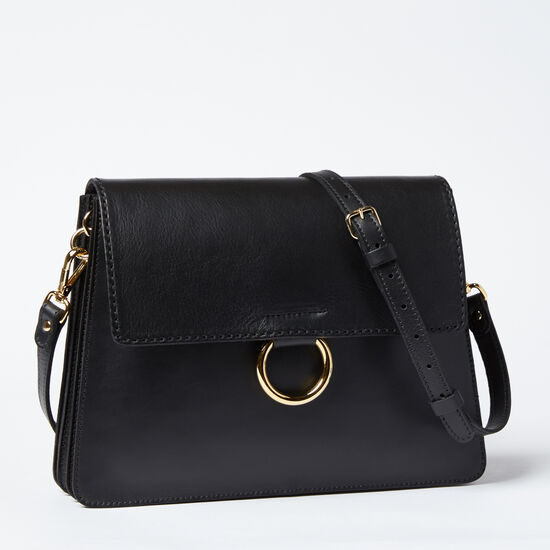 Roots-Leather Shoulder Bags-Grand Bardo Box-Black-A